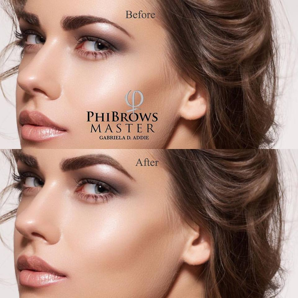 Before and After PhiBrows Microblading Eyebrows Treatment by Gabriela Addie